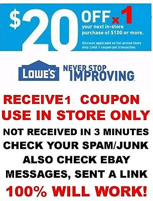 LOWES $20 off $100 x1Coupon-IN STORE ONLY - FAST-E-Delivery - Exp DEC 31st  WOW!