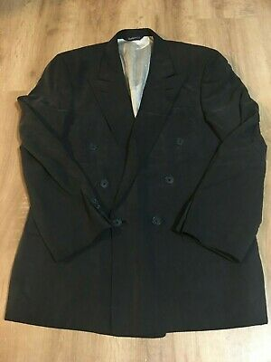 Burberrys' Men's Charcoal Gray Double Breasted Silk Blazer Jacket 44R