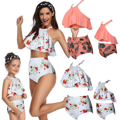 Family Matching Swimsuit Mother Daughter Kids Baby Women Girl Bikini Swimwear