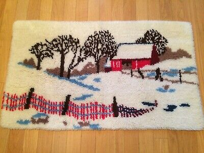 Vintage Bucilla Latch Hook Rug WINTER MORN  Red Barn Completed, Snow, Trees