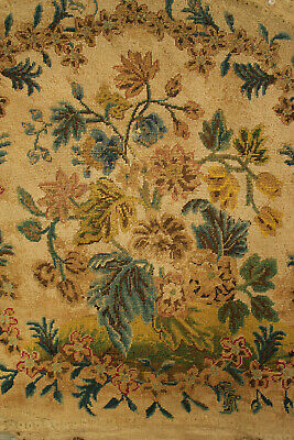 Antique French Tapestry hand embroidered needlepoint floral chair back Fabric