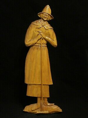 "French Canadian Carved Wood Folk Art ""Farmer's Wife"" Figurine- Ferdinand Boucher"
