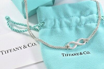 "Tiffany & Co Sterling Silver Infinity Pendant 16"" Double Chain Necklace BOXED"