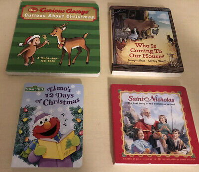 Lot Of 4 Christmas Board Books For Kids-Elmo, Curious George, Etc
