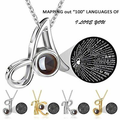 100 Languages Light I Love You Projection Necklace 26 A-Z Initial Letter Pendant