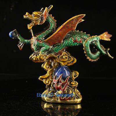 Old Exquisite Chinese Cloisonne Hand-carved Fly Dragon with Wings Statue