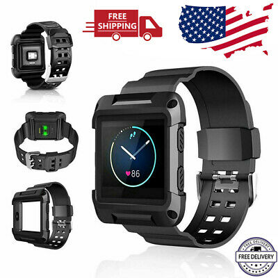 Black Replacement Armor Large Wristband Watch Band Strap+Frame for FITBIT BLAZE