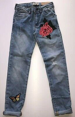 ✨NEW WITH TAGS Zara Girls Denim Slim Fit Ripped Patch Jeans Age 8
