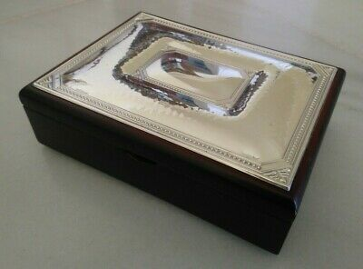 Sterling Silver And Wood Box. Lined Inside With Cream Coloured Suede.