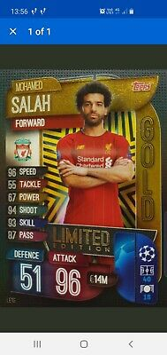 Topps Match Attax 2019/20 MOHAMED SALAH GOLD Limited Ltd Edition card Liverpool