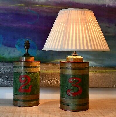 A Pair Chinese Chinoiserie Tole Tea Canister Caddy Brass Hall Side Table Lamps