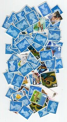 selection of 100 2nd class unfranked,  stamps off paper. SLIGHT SECONDS.