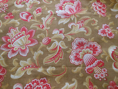 Antique French Indienne Floral & Fruit Cotton Fabric ~ Brown Pink Red
