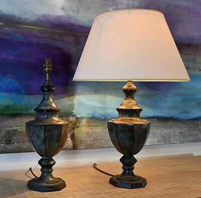 A Pair of Elegant Urn Shape Verdigris Hall Bed Side Console Table Lamps
