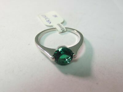 New Old Stock Sterling Silver Green Emerald Stone Ring