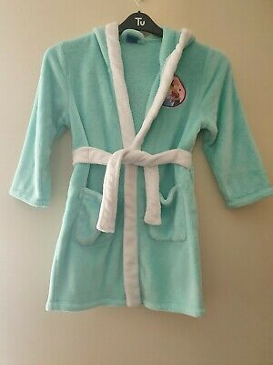 Girls Disney Frozen Green Fleece Long Sleeve Dressing Gown Age 7-8 Years