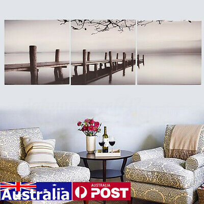 3Pcs Art Picture Print on Canvas Black White Bridge Lake Landscape Poster