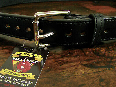 """Mens THICK Stitched Black Bullhide Gun Belt 1 1/2"""" Wide Fits 42-44"""" Made in USA"""