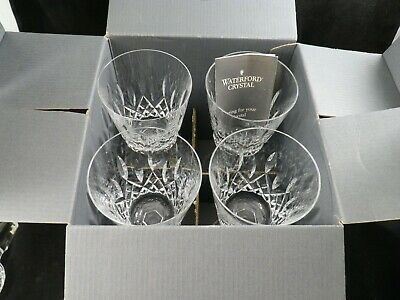 """4 Waterford Crystal Water Goblet 6  7/8""""  Lismore early mark mint  IRELAND  box"""