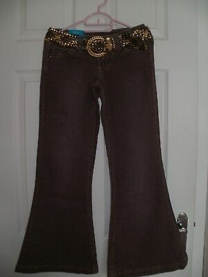 Girls Denim Flared Trousers with Gold Belt  (new with tags) Age 12