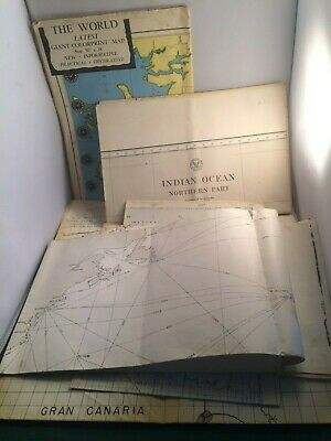 5 Vintage Maps - World, Indian & Atlantic Oceans, India & Canary Islands - P2147