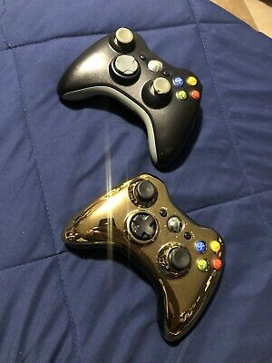 2x Official Genuine OEM Microsoft XBOX 360 Wireless Controller Gold & Black
