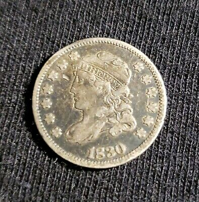 """1830 Capped Bust Half Dime United States """"Half Disme"""" 5 Cent Silver Coin"""