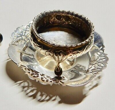 Antique Sterling Silver sugar bowl, on silver-plate dish