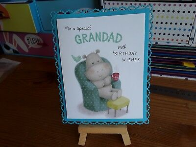 Handmade pearl pin dot frame grandad birthday card topper.