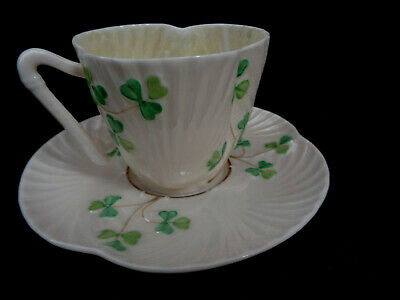Irish Belleek Harp Shamrock  Pattern Cup & Saucer  Third Black Mark