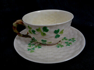 Irish Belleek Shamrock Pattern  Cup & Saucer  Second Black Mark