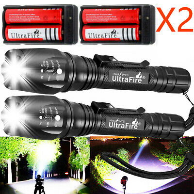 1200000LM Zoomable T6 LED Rechargeable Torch Flashlight Light Lamp+ Charger`