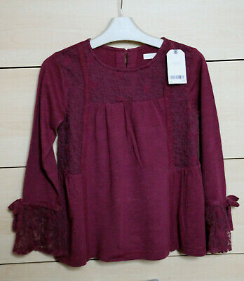 Next Girls Gorgeous Burgundy Lace Detail Top Age 7 Years BNWT Tag £16