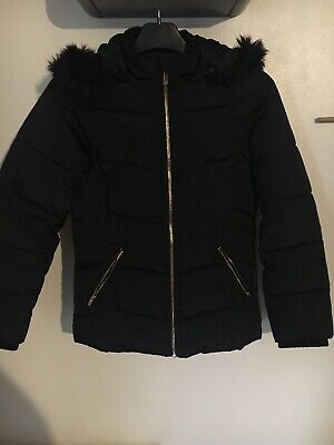 River Island Girls Coat Aged 11-12 Navy Blue