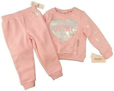 JUICY COUTURE girl pink TRACKSUIT silver foil Hearts 2 PC SET zip pockets 2Y 5Y