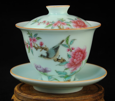 Famille-rose porcelain hand painted flower and bird teacup Qian Long Qing /Db01J