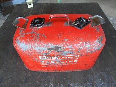 OMC Outboard Johnson Evinrude Gas Fuel Tank Metal Jerry Can V4 85 115 50 70 Lark