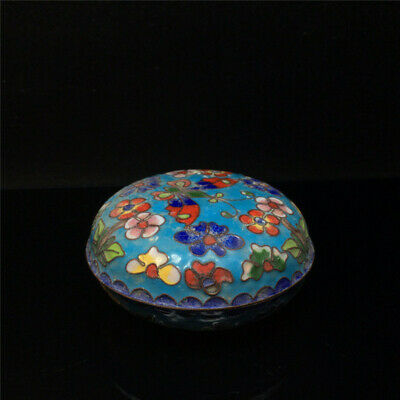 "3.54"" Chinese pure copper Cloisonne painted flower Handmade Jewelry box"