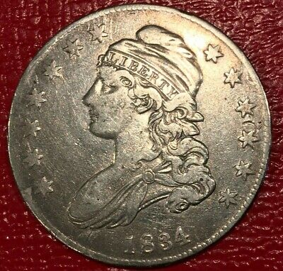 High Grade Xf 1834 Capped Bust Silver Half Dollar-Dec550