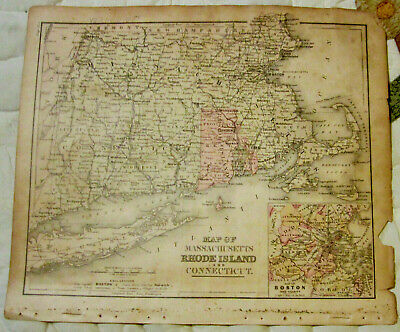 c 1881 Tinted Map of Massachusetts, Rhode Island & Connecticut, 20 Miles to inch