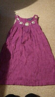 Girls Purple Beaded Neckline Mini Boden Age 9-10 Years Party Dress With Mark