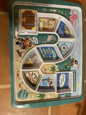 Kids Compartmentalized Sectional Melamine Plate Pirate Treasure Chest