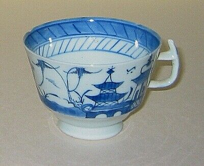 Canton China  TEA CUP  - c1880? Oriental / Asian blue white pattern - 2.5x 3.5in
