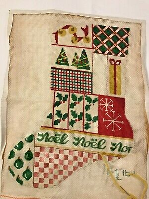 Partially Complete Noel Patchwork Look Needlepoint Christmas Stocking