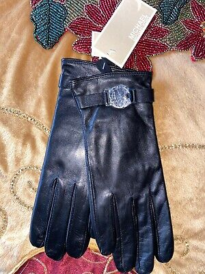 MICHAEL Michael Kors Leather with Logo Gloves with Touch Tips, M 100% Authentic!