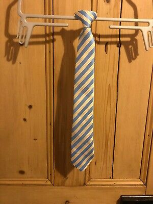 Boys Clip On Blue And Yellow Tie