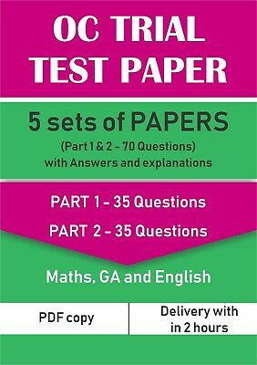 Opportunity Class (OC) Trial Test Papers - 5 Sets of Paper 1 & 2 with Answers