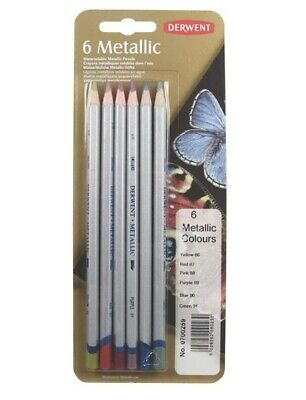 Derwent Metallic Water-soluble Colouring Pencils Blister Set of 6 Ref: 0700259