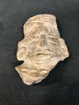 Ancient Pre-Columbian Aztec Artifact Carved Stone Head Figure Face (mm1473)
