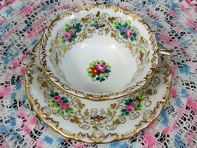 Antique German Hand Painted Floral Embossed Gold Large Tea Cup & Saucer